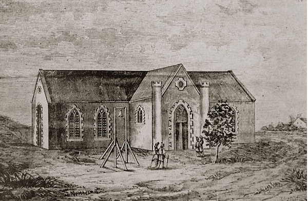 Bloemfontein's first NG Church, c.1850, demolished 1878 & replaced by Twin Tower Church (http://www.wikiwand.com/af/NG_gemeente_Bloemfontein)
