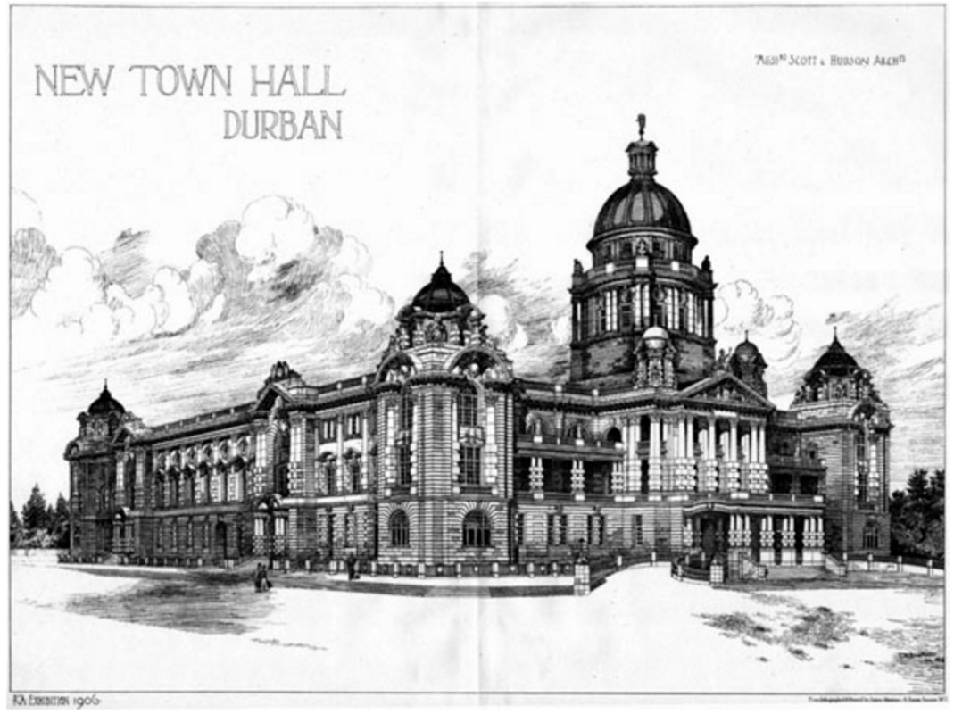 Durban City Hall Design (http://archiseek.com/2009/1906-new-town-hall-durban-south-africa-2/)