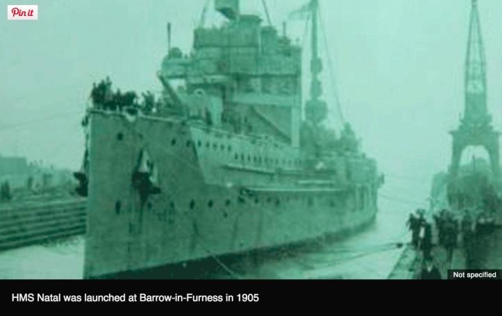 HMS Natal, launch, 1905 (http://www.bbc.com/news/uk-scotland-highlands-islands-34388839)