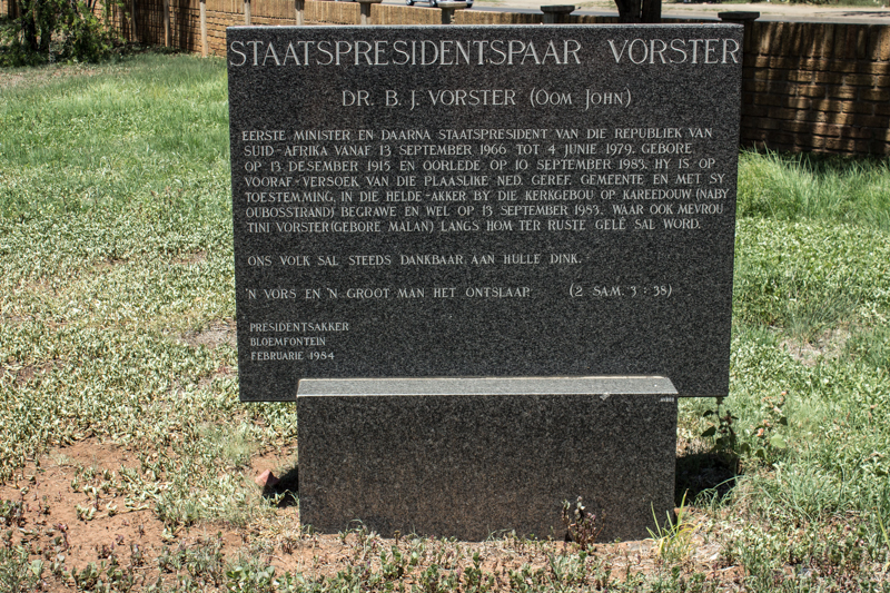 The grave of President Vorster
