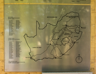 The map with the location of the concentration camps