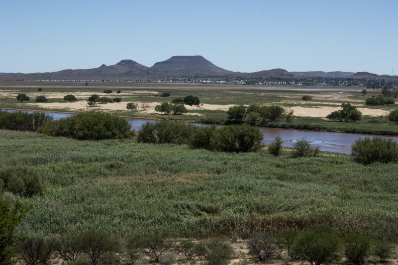 The Orange River with Bethulie in the distance