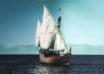 The replica of Dias' Caravel sailing from Portugal to South Africa
