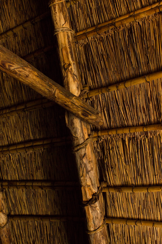 The reed roof inside the Voortrekker 'tent'