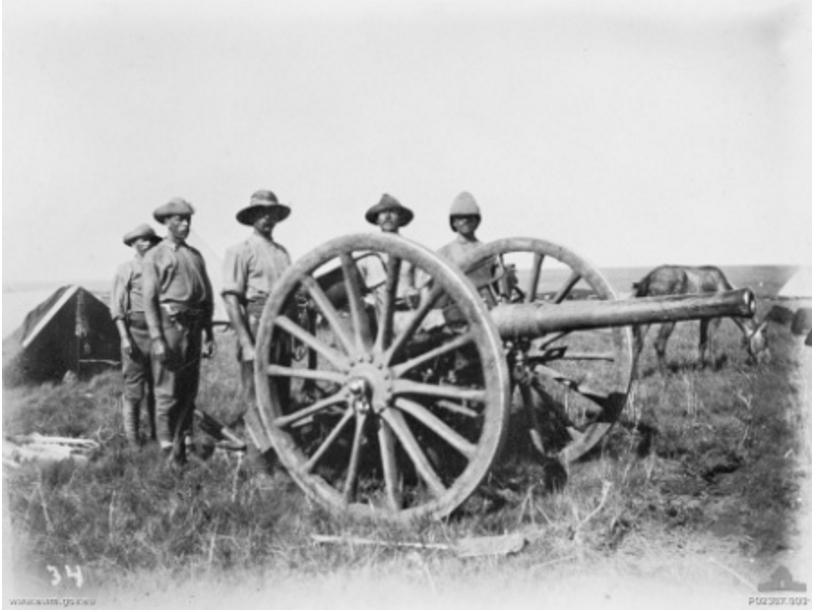 Australians with Field Gun (https://commons.wikimedia.org/wiki/File:AustraliansAnd15pounder1901BoerWar.jpeg)