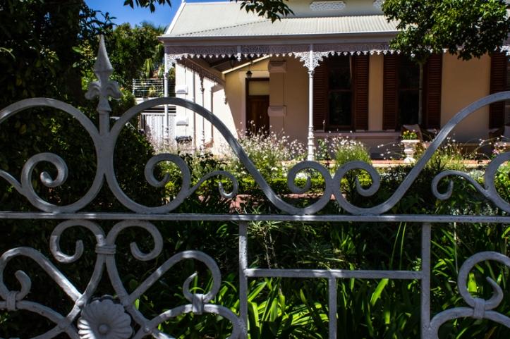 Wrought iron gates & broekie lace in Stellenbosch