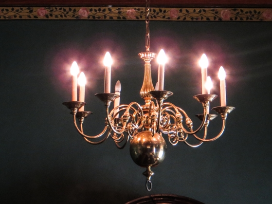 Chandelier in the dining room at Boschendal