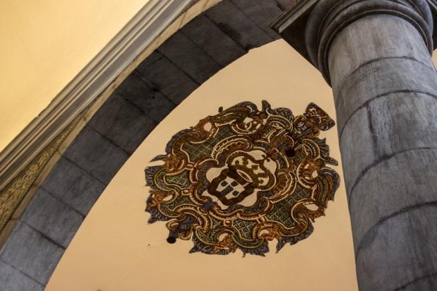 Crest on the ceiling of The Church of Nossa Senhora do Conceicao, Vila Vicosa