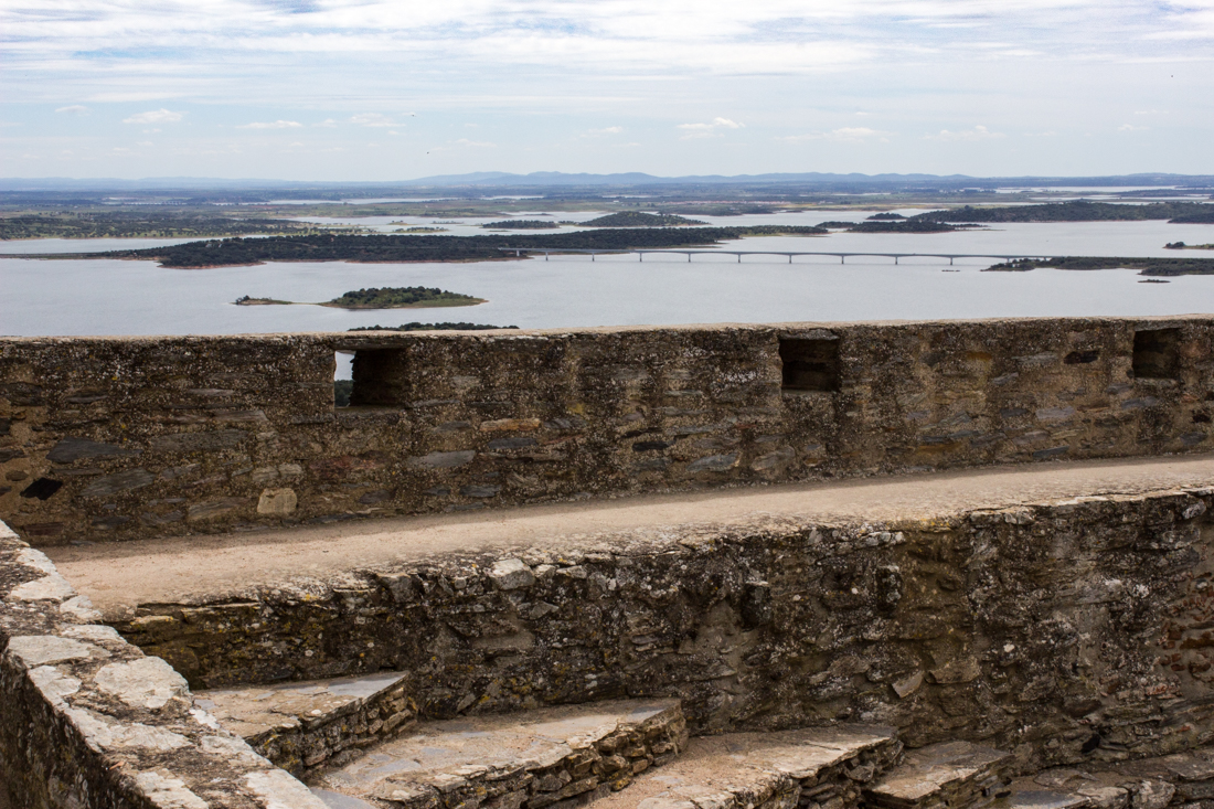 The view over Alqueva Reservoir from the walls of the Castle Keep, Monsaraz