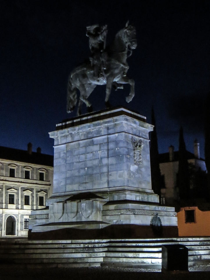 The equestrian statue of King Joao IV (1604-56) in the square of the Ducal Palace, Vila Vicosa