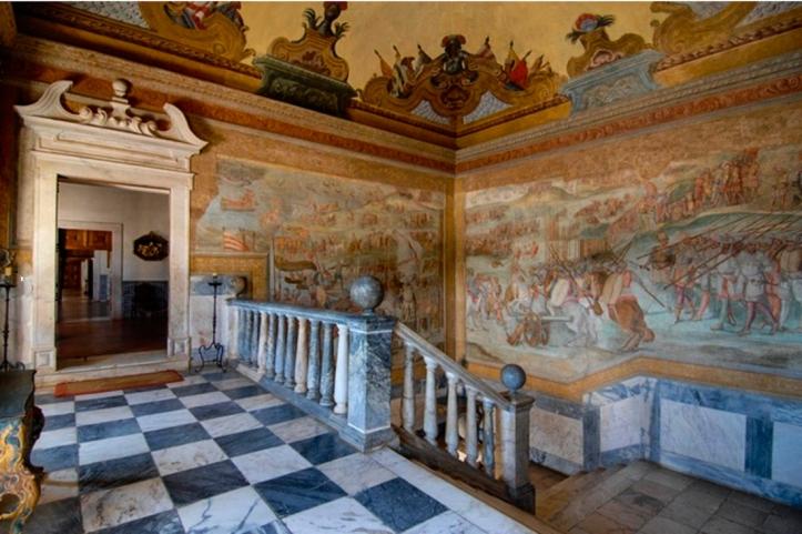 The Grand Staircase in the Ducal Palace, Vila Vicosa (http://www.patrimoniocultural.pt/pt/museus-e-monumentos/rede-portuguesa/m/museu-biblioteca-da-casa-de-braganca/)