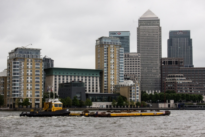 The Thames and Canary Wharf from the entrance to the Lavender Pond