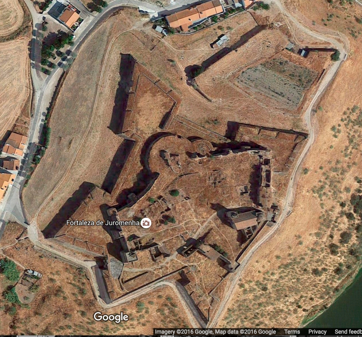 Juromenha Castle, taken from Google maps, with 13C walls inside 17C fortifications