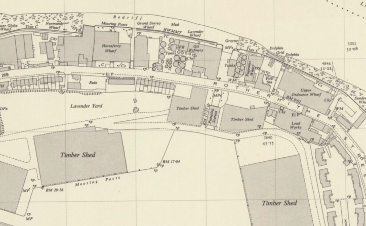 Lavender Docks, with Pumping House, 1951, (http-:maps.nls.uk:view:103032012)