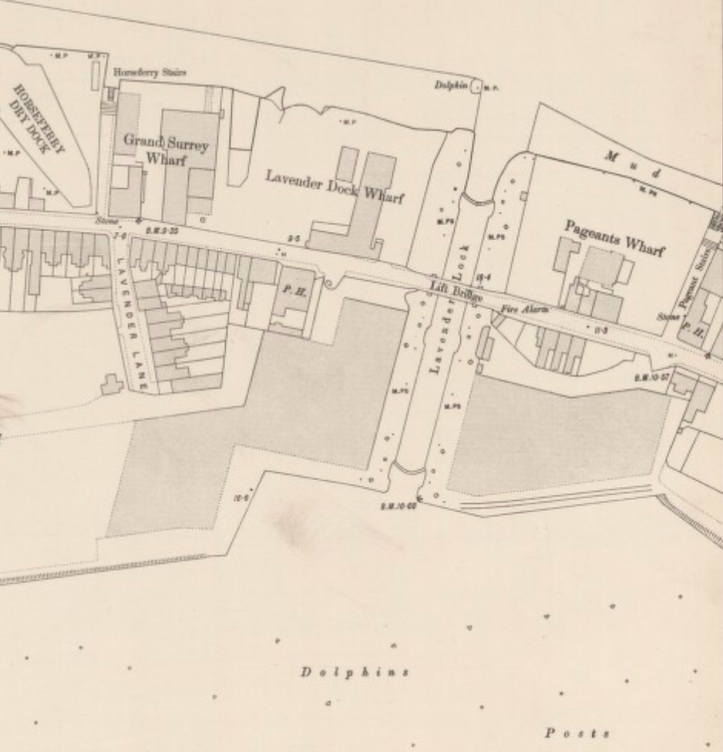 Lavender Lock, Ordnance Survey 1896 (http://maps.nls.uk/view/101201634#zoom=4&lat=7651&lon=6514&layers=BT)