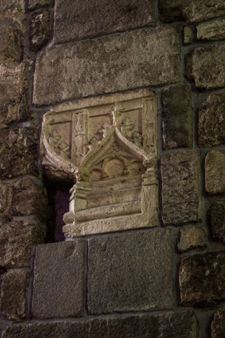 Remains of carved block in Abbey of St Melaine