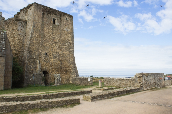 The ruins of the lighthouse tower of the Abbey of St Mathieu