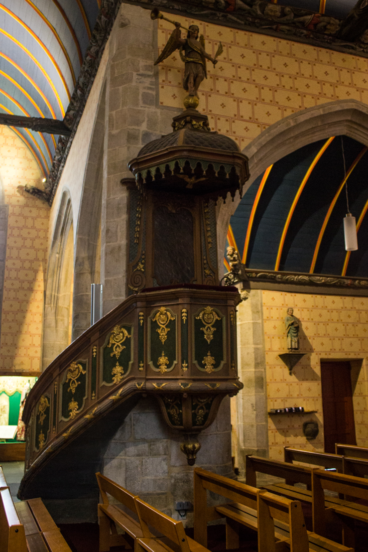 The pulpit in the Church of St Suliau, Sizun