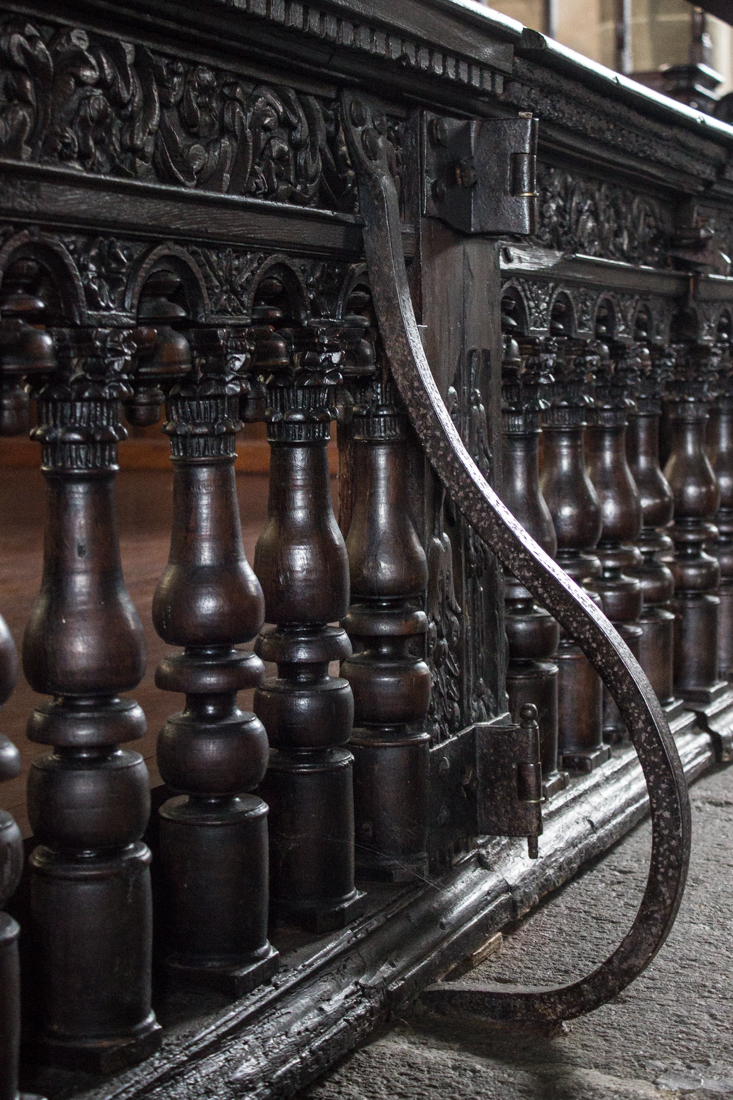 The railings in front of the main altar, the Church of St Guimiliau
