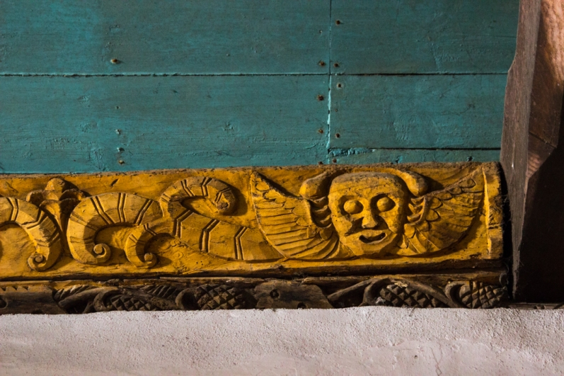 Carved beams in the Church of St Guimiliau