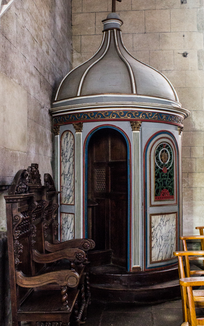 A confessional in the Church of St Germain d'auxerre in Pleyben