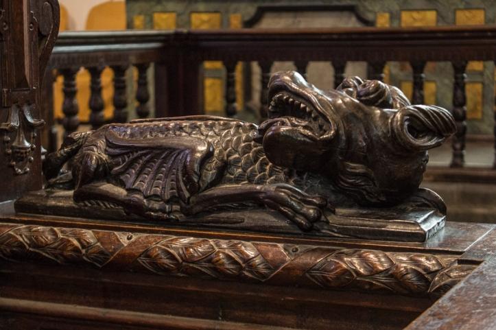 17C carved stalls, Lampaul-Guimiliau