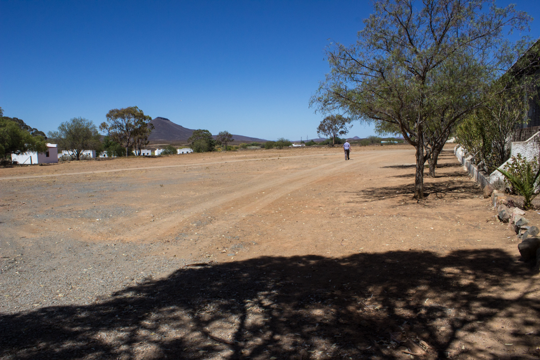 The derelict cricket pitch at Matjiesfontein