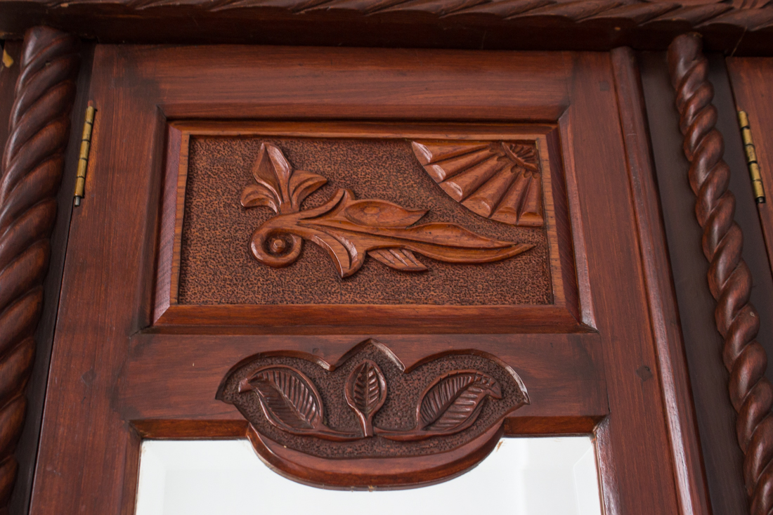 Carved furniture in the Old Library, Graaff Reinet
