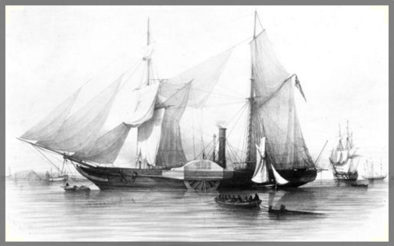 HMS Gorgon, 1937, a wooden paddle steam sloop