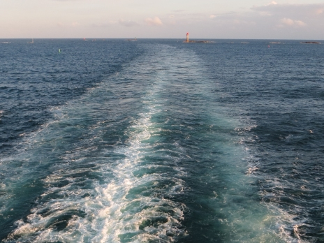 The wake of the ferry