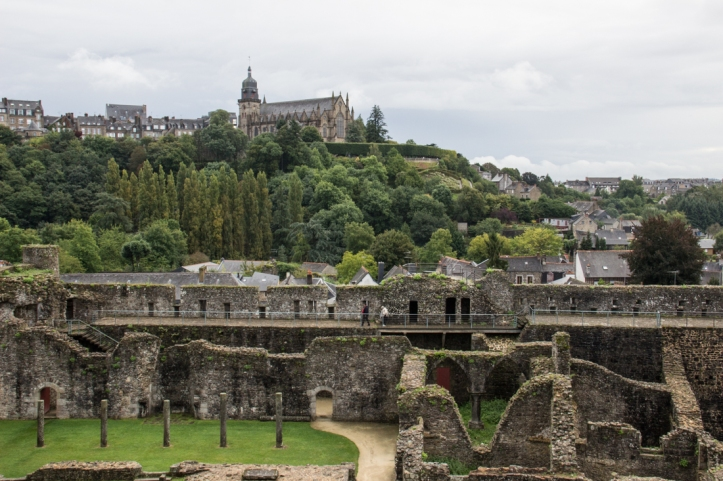 Fougeres Castle, looking towards the church of St Leonard