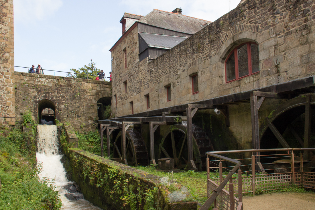 The river and waterwheels between the two gateways, Fougeres Castle