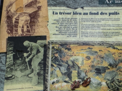 Information boards at the mine in the forest, Caurel