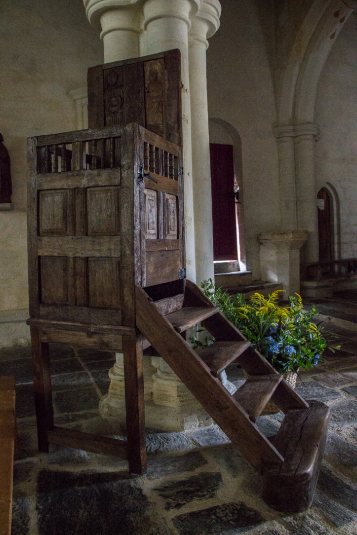 The 16C Pulpit in the Church of St Jacques, St Leon