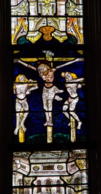 14C stained glass in the Church of St Jacques, St Leon