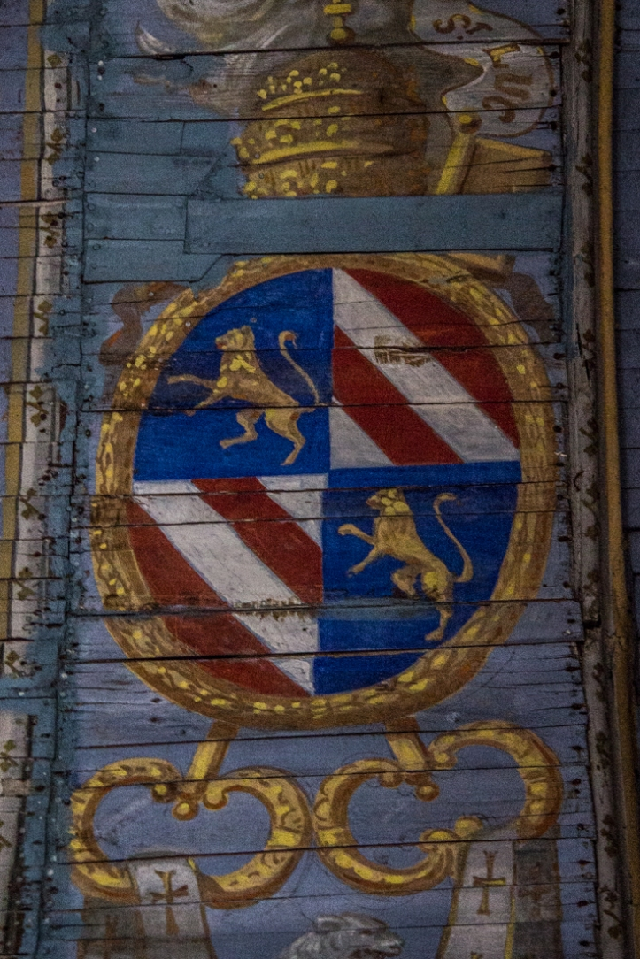 Coat of arms on the ceiling of the Church of Notre Dame at Le Quillio