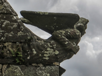 Angels on the corners of the roof of the Ossuary of the Church of St Pierre, Hanvec