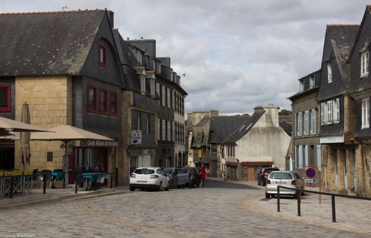 The market square in Le Faou & the street leading down to the port