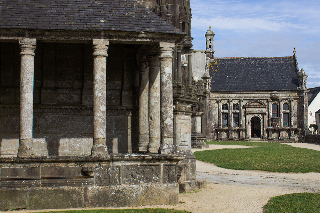 The original ossuary on the left (pillared), and the later ossuary in the background