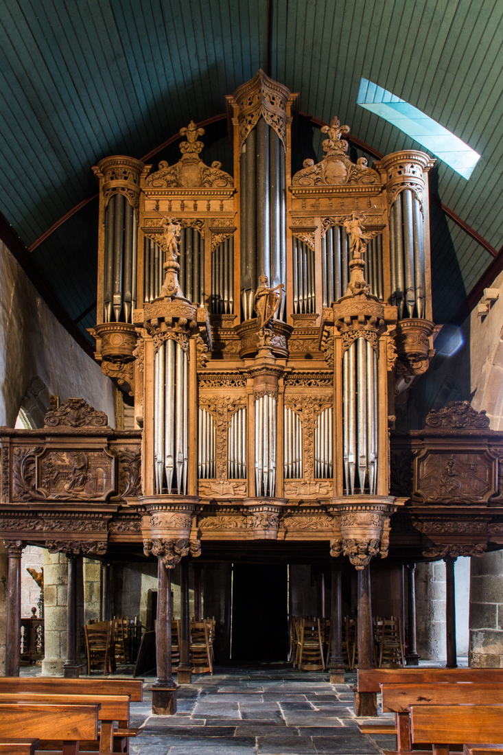 The organ built by Thomas Dallam in the Church of Guimiliau