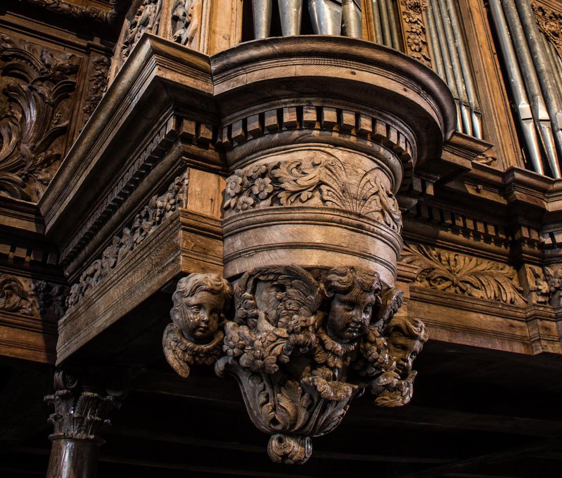 The organ built by Thomas Dallam in the Church of Guimiliau