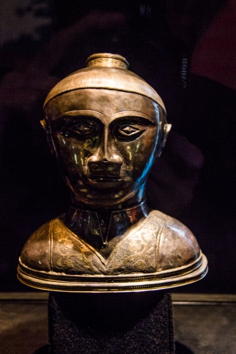 A silver bust of St Guenole in the Museum at Landevennec Abbey