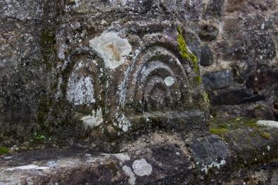Carvings on pillars in Landevennec Abbey