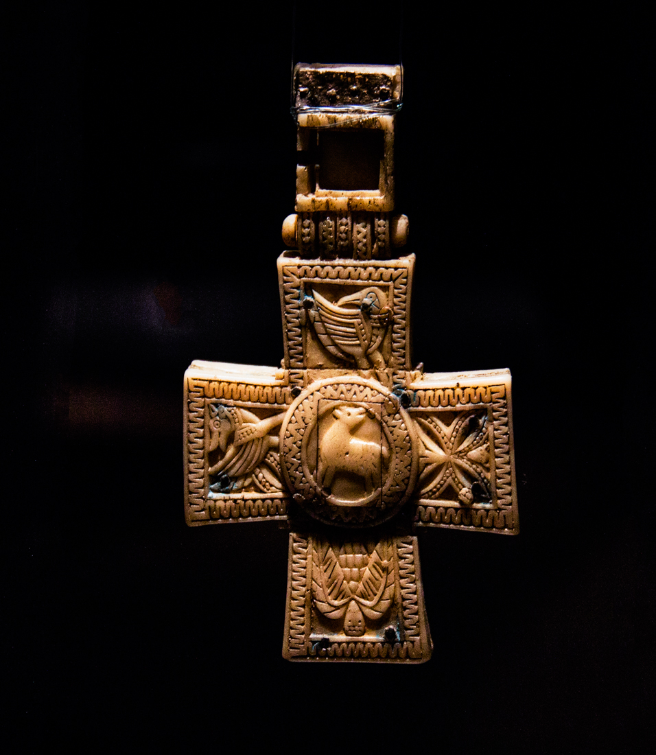 Mediaeval ivory cross in the Museum at Landevennec Abbey
