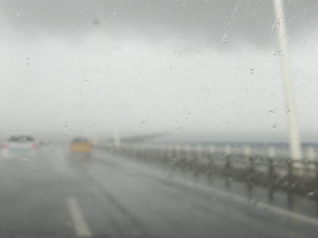 Crossing the Vasco da Gama Bridge in the rain in 2017