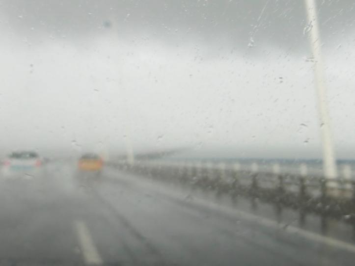 Crossing the Vasco da Gama Bridge in the rain in 2017