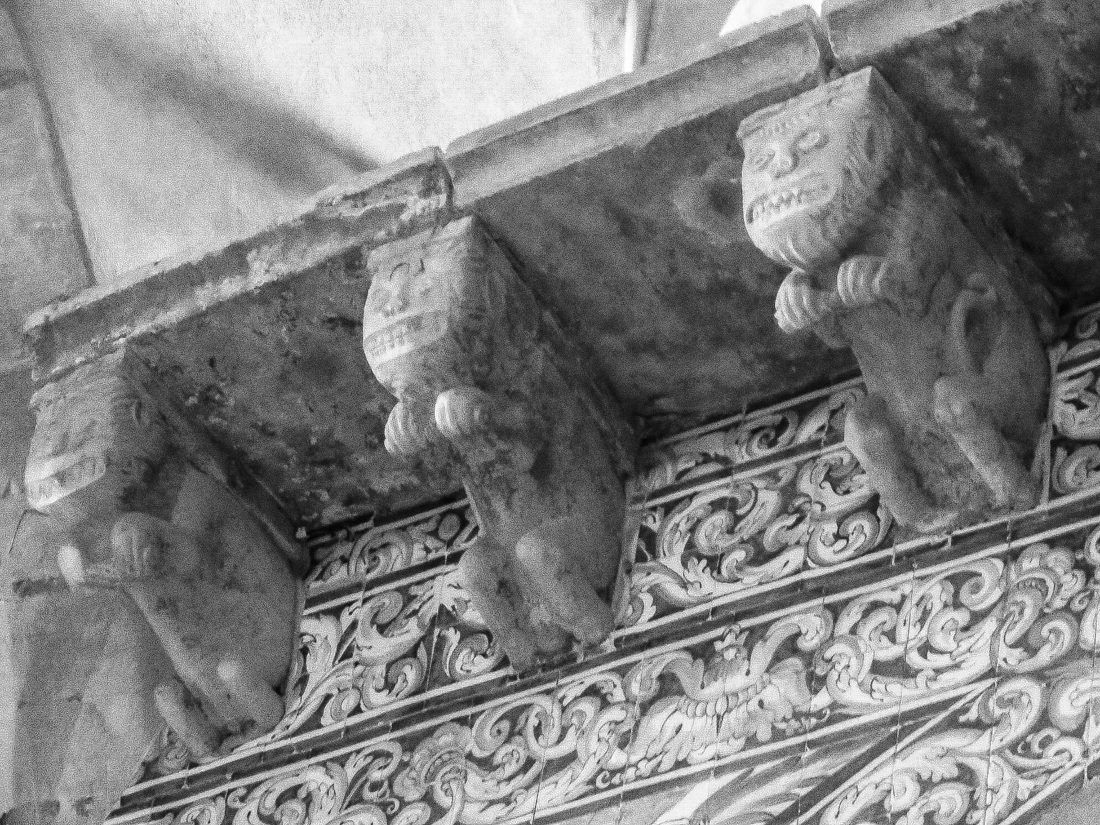 Carvings in the Church of St James, Pousada at Palmela