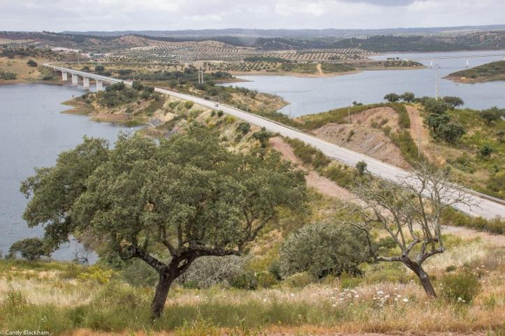 The bridge over the Alquevar Reservoir