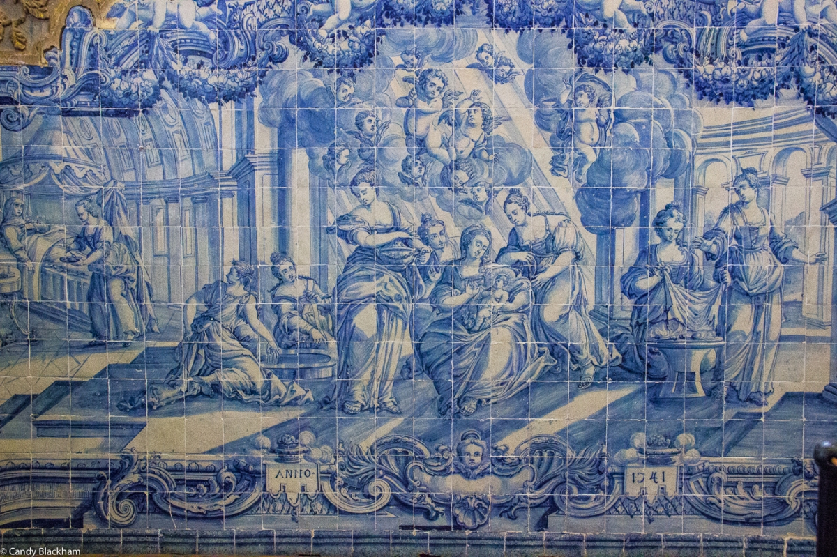 Tiles of 1741 telling the story of St John the Baptist