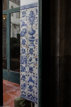 Dutch? tiles at a corner of the Cloisters